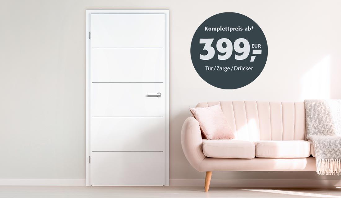 Premium-Design-Tür mit »Fineline«-Querfräsung inklusive Edelstahlgriff mit patentierter unsichtbarer Smart2lock-Verriegelung